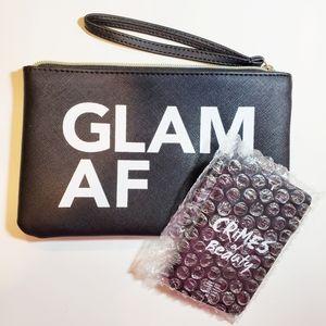Crimes of Beauty Glam AF Wristlet Black Leather